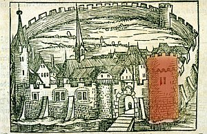 "Fortified tower Bolander in the ""Cosmographia – Beschreybung aller Lender"""